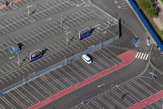 London, United Kingdom - October 6, 2013: Bird's eye view of a car park in London
