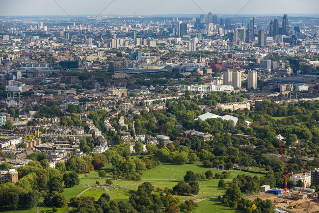 London, United Kingdom - October 6, 2013: An aerial view of Primrose Hill and London Zoo in north London with a view of The London Eye in the distance