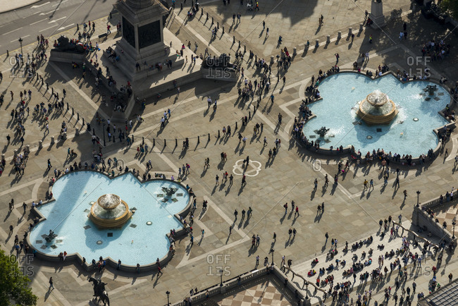 London, United Kingdom - October 6, 2013: Bird's eye view of Trafalgar Square in London