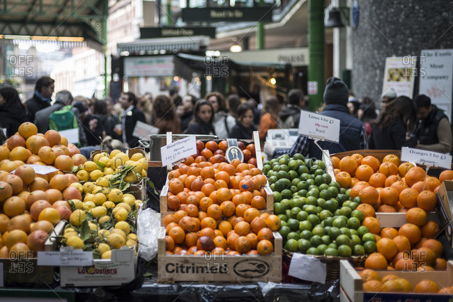 London, United Kingdom - March 21, 2014: Clementines in Borough food market in London