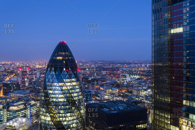London, United Kingdom - July 21, 2015: Nighttime view of London taken from the top of Tower 42 in the city