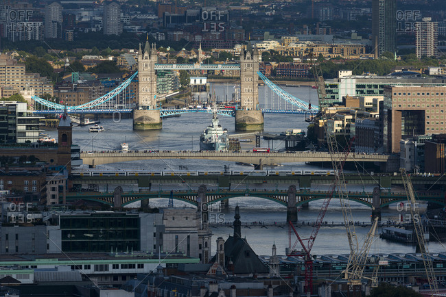London, United Kingdom - August 26, 2015: A sunset view of the Thames river from the top of Centre Point tower