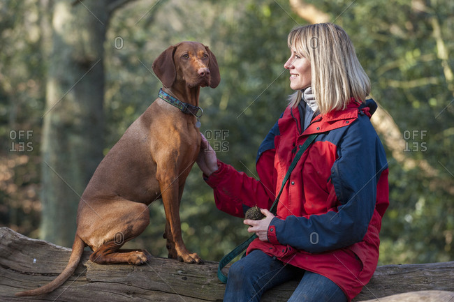 Woman with her dog in Putney Heath