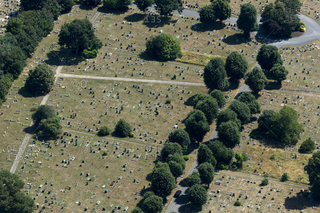 An aerial view of a graveyard in London