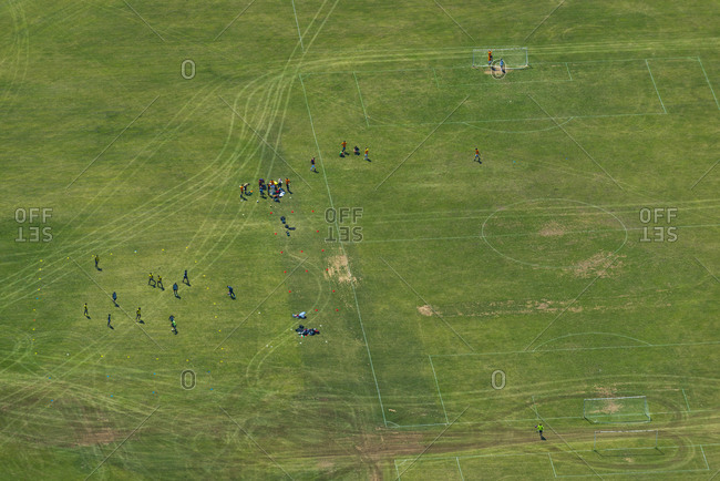 An aerial view of a football pitch in London