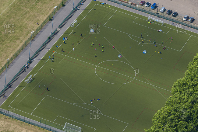 Bird's eye view of a football pitch in London