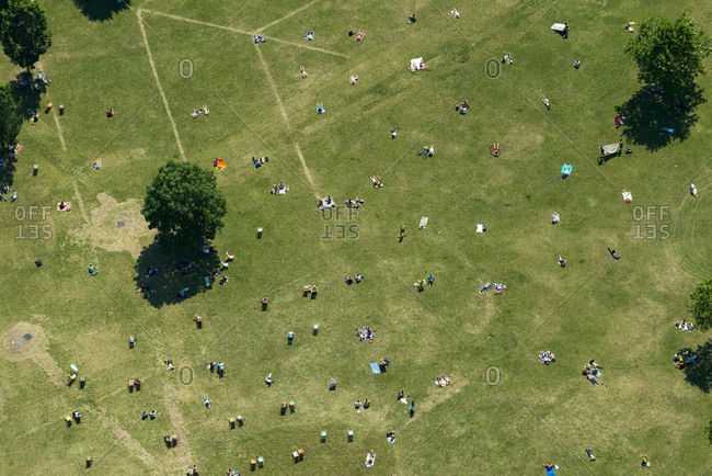 An aerial view of people in Hyde Park in London