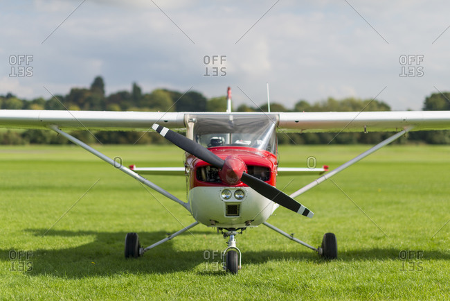 A front view of a light aircraft at Redhill Aerodrome in Surrey