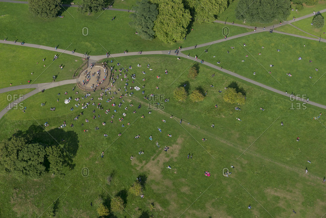 An aerial view of Primrose Hill in north London