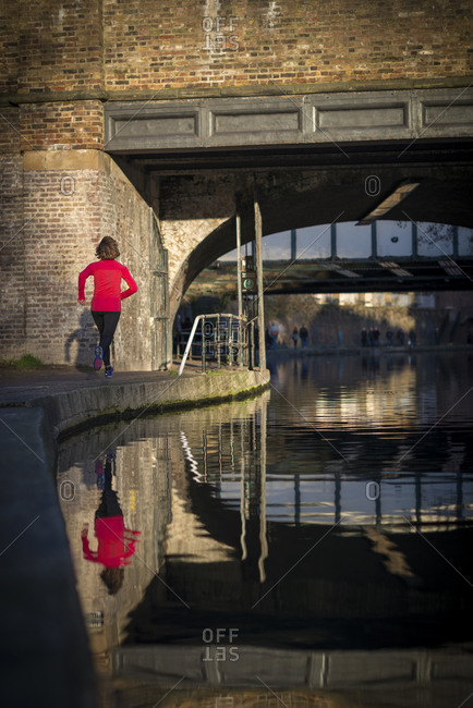 London, United Kingdom - August 26, 2015: World champion endurance runner Lizzy Hawker training beside Regents