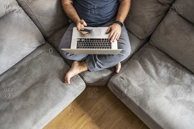 Man with a beard teleworking on his laptop in his apartment, top view, sitting on the sofa