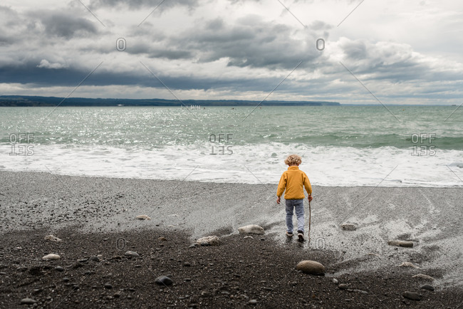 Rear view of little boy walking with a stick on a beach in Hawke's Bay, New Zealand