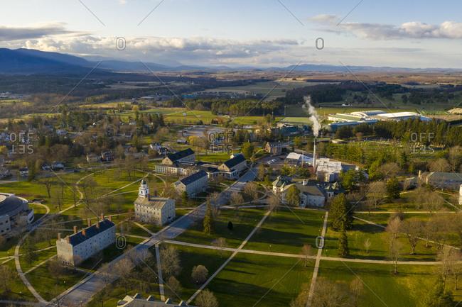 Bird's eye view over Middlebury College, Vermont