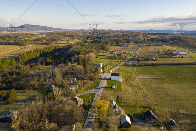Bird's eye view of the rural town of Cornwall, Vermont