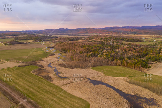 Spring agricultural landscape in New Haven, Vermont