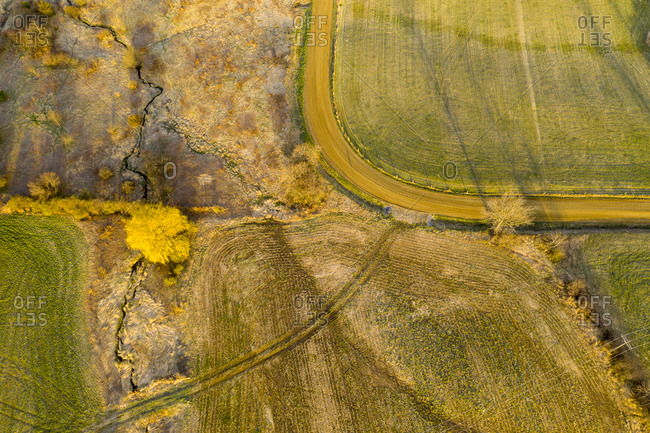 Drone view of spring landscape of dirt road, willow tree and farm fields in Middlebury, Vermont