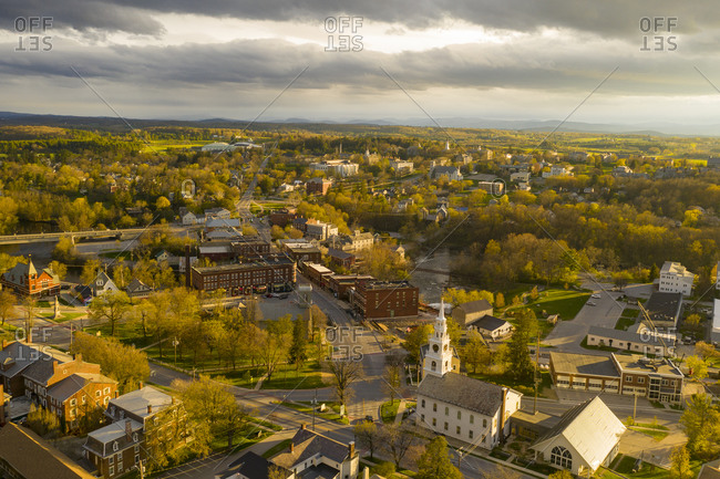 Middlebury, Vermont - May 10, 2020: Bird's eye view over the town of Middlebury on a cloudy day in spring