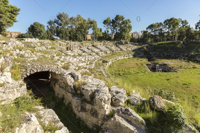 Roman Amphitheater, Parco Archeologico della Neapoli or Parco della monumental Neapolis, Syracuse, Sicily, Italy