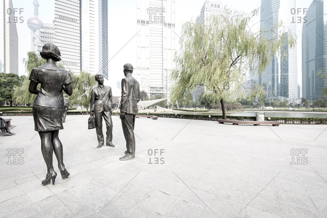 October 24, 2013: Sculptures and skyscrapers, Lujiazui Green Park, Lujiazui, Pudong, Shanghai, China