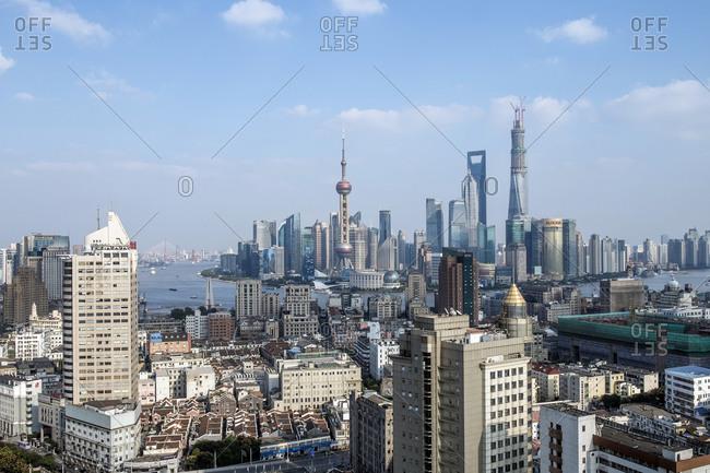October 23, 2013: Cityscape, panorama, Pudong, Shanghai, China