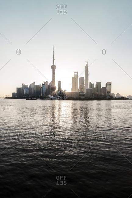 October 21, 2013: Cityscape, skyline, sunrise, Shanghai, China