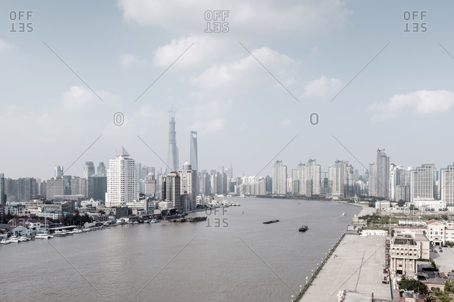 October 20, 2013: View of Huangpu River and skyline, Pudong, Shanghai, China, Asia