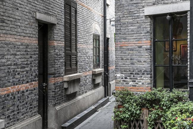October 19, 2013: Narrow lanes, Xintiandi hotspot, Puxi, Shanghai, China