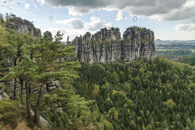Schrammsteine rocks, Elbe Sandstone Mountains, Saxony, Germany