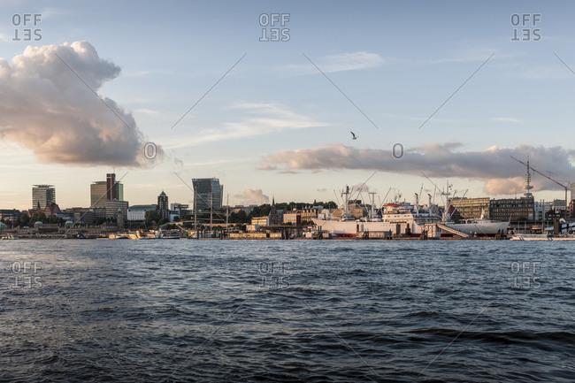 September 26, 2013: Panorama, Port of Hamburg, Hanseatic City of Hamburg, Germany