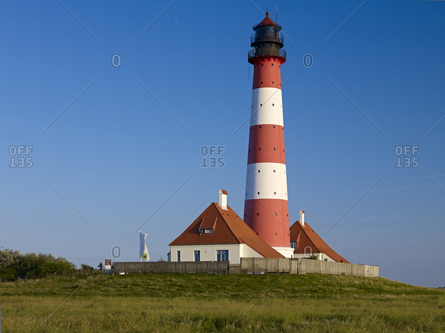 Lighthouse Westerheversand, peninsula Eiderstedt, North Frisia, Schleswig-Holstein, Germany