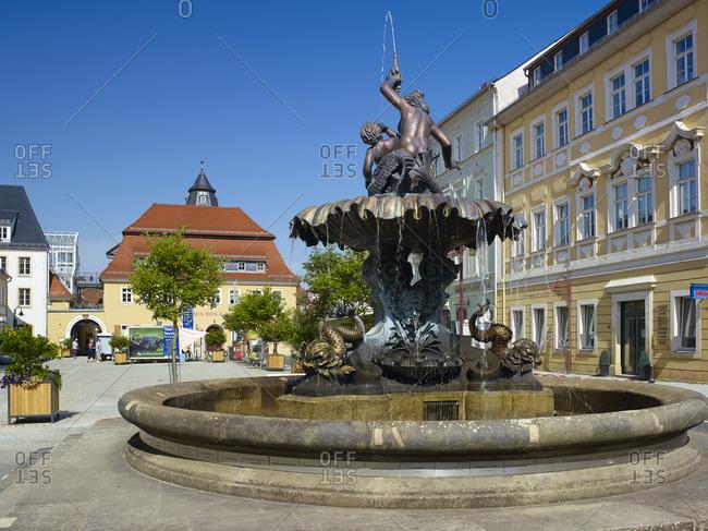 January 1, 1970: Market with Sendig Fountain, Bad Schandau, Saxon Switzerland-East Ore Mountains, Saxony, Germany