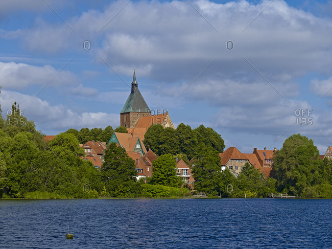 View of Mlln with St.Nicolai church, Duchy of Lauenburg district, Schleswig-Holstein, Germany
