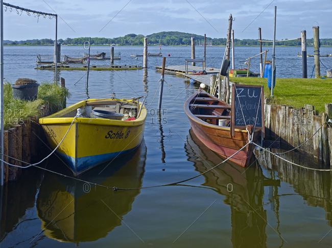 January 1, 1970: Fishing Boats on the Schlei, Schleswig, Schleswig-Flensburg, Schleswig-Holstein, Germany