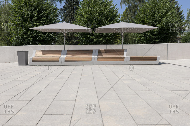 Landscape architecture, cityscape, concrete benches, IGS, Hamburg, Germany