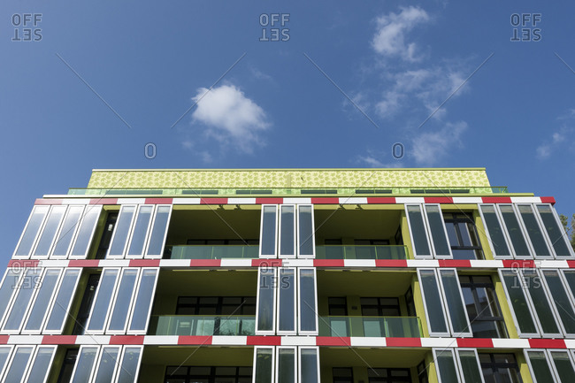 July 12, 2013: Details of bioreactor facade, BIQ, algae house, IBA, Wilhelmsburg, Hamburg, Germany