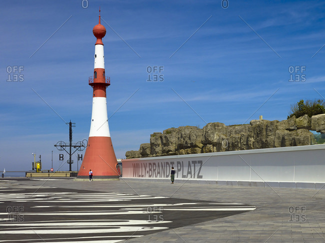 June 17, 2013: Front light called minaret at Willy-Brandt-Platz in Bremerhaven, Bremen, Germany