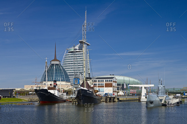 June 17, 2013: Museum harbor with Atlantic Sail City and Mediterraneo, Bremerhaven, Bremen, Germany