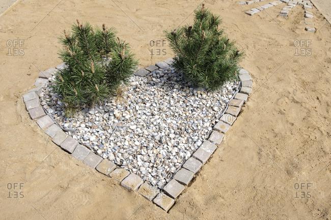 Heart made of paving stones, IGS, International Garden Show, Wilhelmsburg, Hamburg, Germany