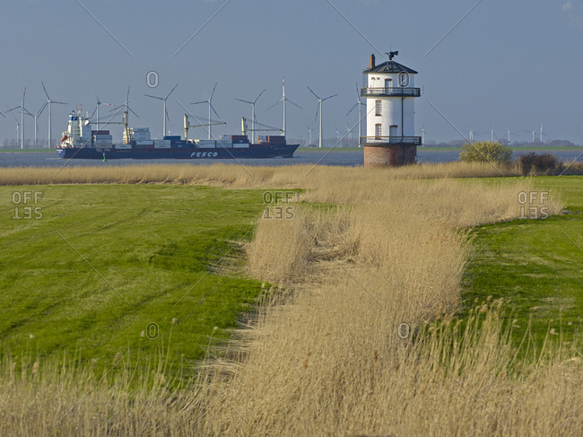 April 20, 2013: Balje lighthouse on the Elbe River, Nordkehdingen, Stade District, Lower Saxony, Germany