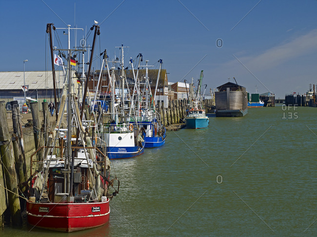 April 18, 2013: Shrimp boats in the harbor of Cuxhaven, Lower Saxony, Germany