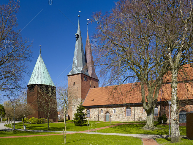 Church of St. Nicolai in Altenbruch with bell tower, so-called Marschendom at Cuxhaven, Lower Saxony, Germany