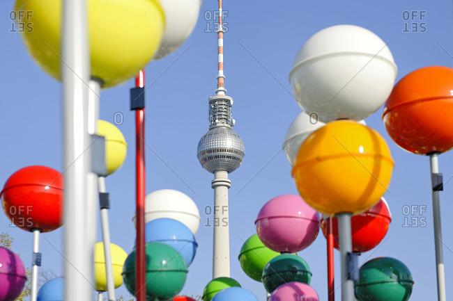 October 21, 2012: Colorful Berlin, shining balls in front of TV Tower, Alexanderplatz, Berlin, Germany