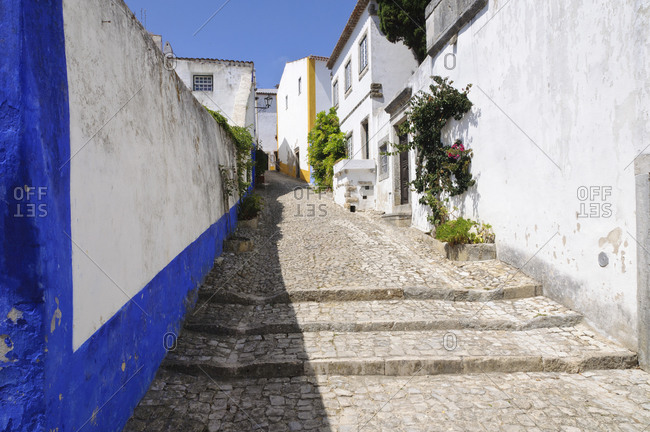 Alley in medieval Obidos, Portugal