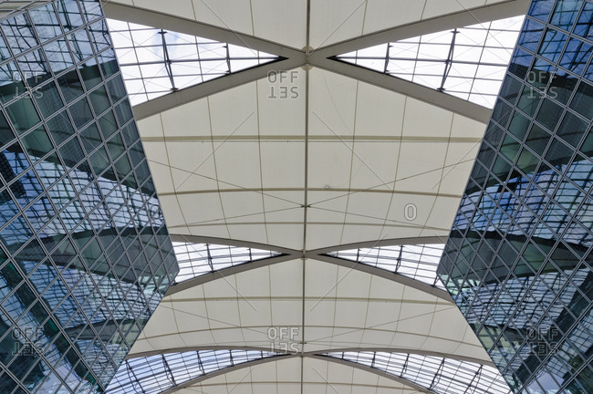 May 28, 2012: Roof construction at Terminal 2 of Munich Airport, Munich, Bavaria, Germany