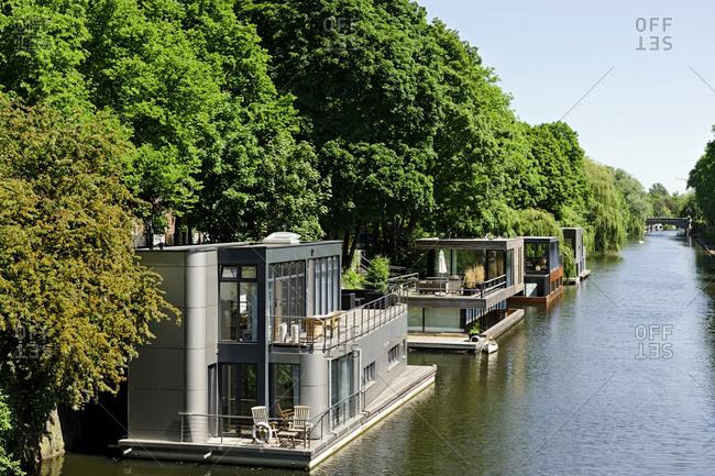 Houseboats on the Eilbekkanal, Eilbek, Hamburg, Germany