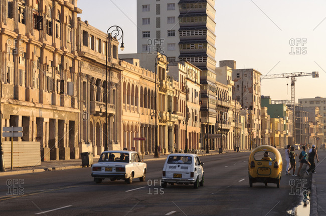 April 7, 2012: Cars on Malecon roadway, Havana, Cuba