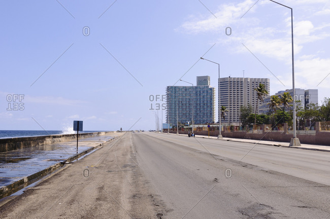 April 7, 2012: View from Malecon towards Hotel Riviera, Havana, Cuba
