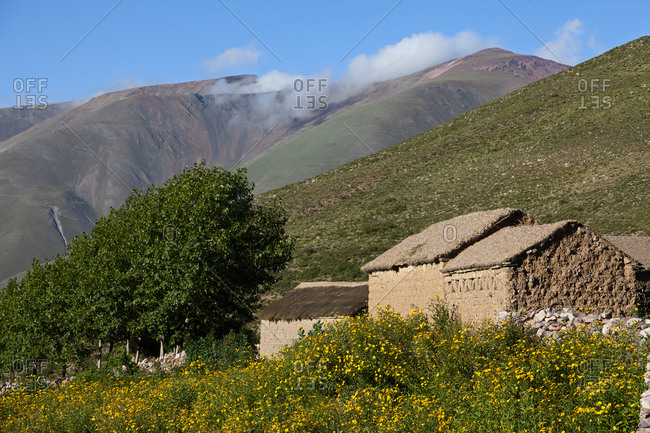 Typical Adobe farmhouse in the Andes, Argentina, South America