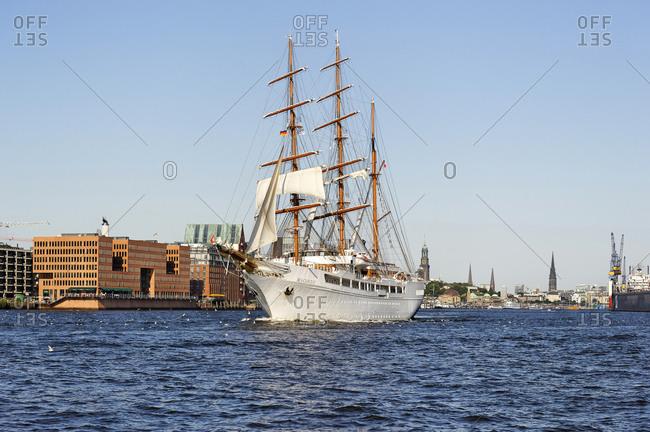 July 29, 2011: Luxury yacht Sea Cloud II, in port in Hamburg, Neustadt district, Hanseatic City of Hamburg, Germany