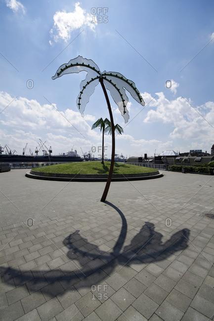 July 27, 2011: Steel palm trees at the Antoniparkt, St. Pauli, Hamburg, Germany